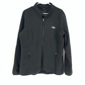 LL Bean Black Full Zip Mick Neck Sweater Sz XL